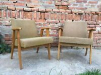 Set of 2 Original Vintage Mid-Century Easy Chairs Quirky Listening Reading