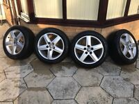 "Genuine Audi A4 A6 Alloy Wheels 17"" with Winter Tyres"