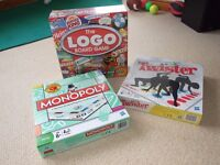 3 Board games Monopoly, Logo and Twister