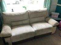 Cream and brown suede 4 seat recliner