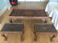 Set of 3 Solid Walnut Tables from India - Large Coffee Table and two small matching tables