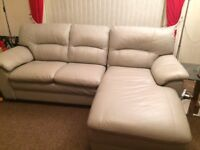 Silver Leather 3 seater sofa with Chaise Lounge and Chair