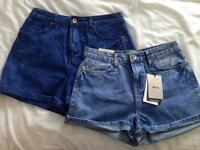 2 pairs size 12 New Look denim shorts