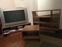 TV stand, coffee table and display shelves