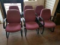 Chair - Quality Purple Fabric and Black Metal Visitors Chairs