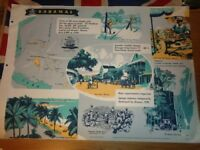 Vintage 1950's Educational Wall Poster Empire Information Project - Bahamas