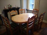 Smart Wooden Dining Set including Table & Six Chairs