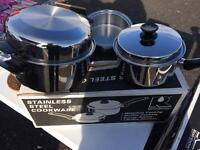2x Energy Saving surgical steel pots. IN BOX