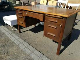Vintage wooden desk with 5 drawers