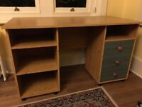 Pine desk with green/blue drawer fronts in great condition