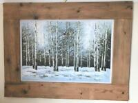 Hand painted birch forest picture