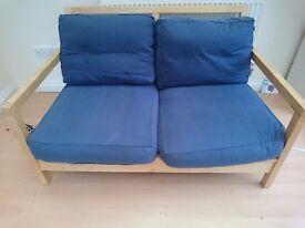 2 seater blue ikea sofa