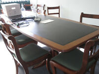 BARREL SHAPED LEATHER TOPPED BOARDROOM/DINING TABLE–SEATS 8(+ 3 EXTRA ROLL-TOP CHAIRS) - £475