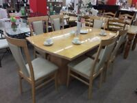 Light Wood Curved Dining Table + 6 Cream Chairs