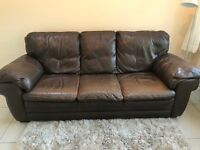 Brown Leather Sofas - 3 and 2 Seater - plus Footstool