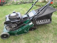 Hayter self propelled, electric start, petrol lawnmower with roller