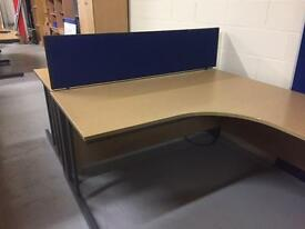 Left and right set of used office pull out desks