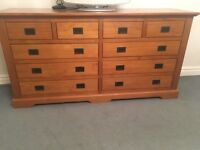 Wooden drawer chest and bedside cabinets