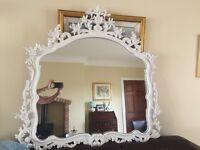 """Large Irnate Mirror White carved Frame 48""""/120cm"""