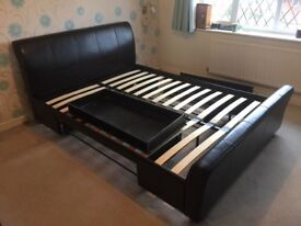 Brown leather effect king size bed frame