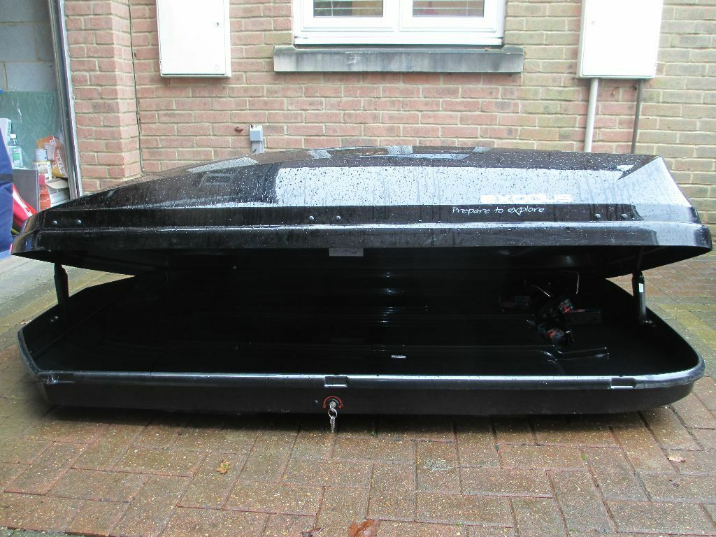 Exodus 580l Black Roof Box Incls Fittings To Roof Bars