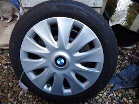 BMW 1 series winter tyres on steel wheels 195/55r16 87h, Bridgestones, about 5mm tread, run flats.