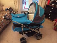 Chicco travel system - includes pushchair, pram (cot base) and car seat