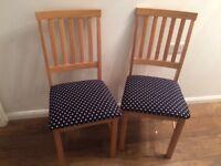 x2 Chairs modern navy polka dot cushion