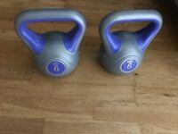 Pair of 6kg kettlebell york fitness