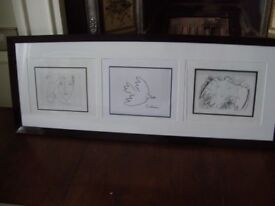 Trio of framed Picasso prints / pictures