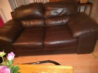 2 Dark brown leather sofas both large 2 seaters 183 wide