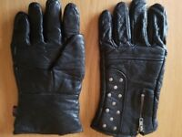 Black Leather Motorcycle gloves Size large