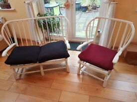 Ercol-style retro chair and loveseat, painted in matt white, w/cushions