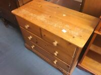SMALL SOLID PINE PANELLED CHEST OF FOUR DRAWERS NEEDS A SAND OR PAINT