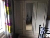 FREE solid wood cream washed wardrobe. Needs uplifted ASAP.