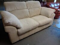 DFS 2 Seater Metal Action Sofa Bed Settee in White Jumbo Cord