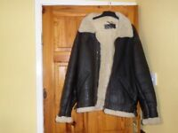 MENS BROWN LEATHER US AVIATION JACKET 40 INCH CHEST