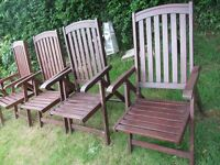 6 RECLINEING HARDWOOD CHAIRS IN VERY GOOD CONDITION