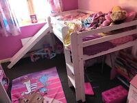Girls Wardrobe, Chest of Drawers, Bedside Table and Slide Bed