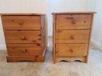 2 Pine Bedside Drawers