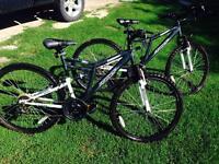 Set of adult 18 speed mountain bikes