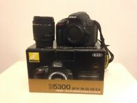 Nikon D5300 camera & kit lens 18-55mm. Approx 18 months old, but in as new condition. Great camera