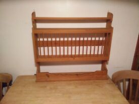 Pine plate rack and shelving