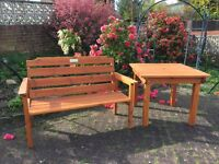 Solid Wood Garden Table and Bench Seat