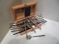 "Wood Drills - Flat Style, 10 - 38 mm in Box. + 1 1 1/4""."