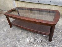Mahogany Coffee Table with Glass Top and storage shelf, solid wood frame