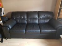 Black 3 seater leather sofa