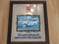 Rolls Royce Advertising Mirror (Large Vintage Antique)