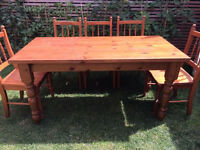 Solid pine dining table with 5 solid wood chairs