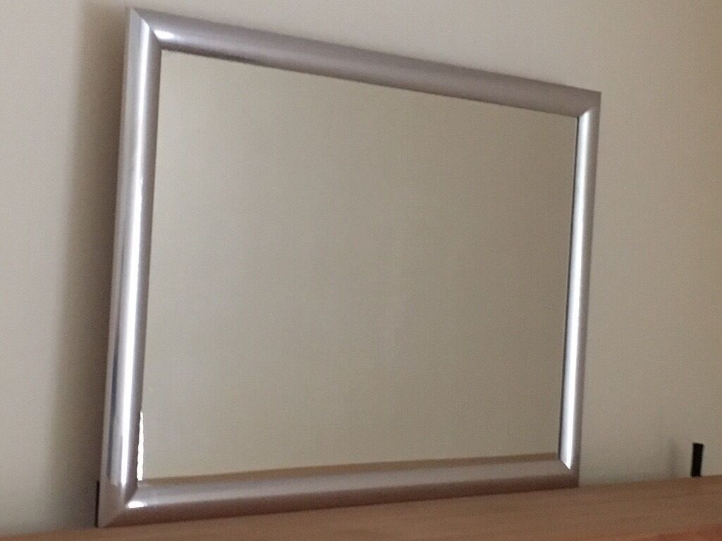 Chrome surround wall mirror, large & contemporary. Excellent condition